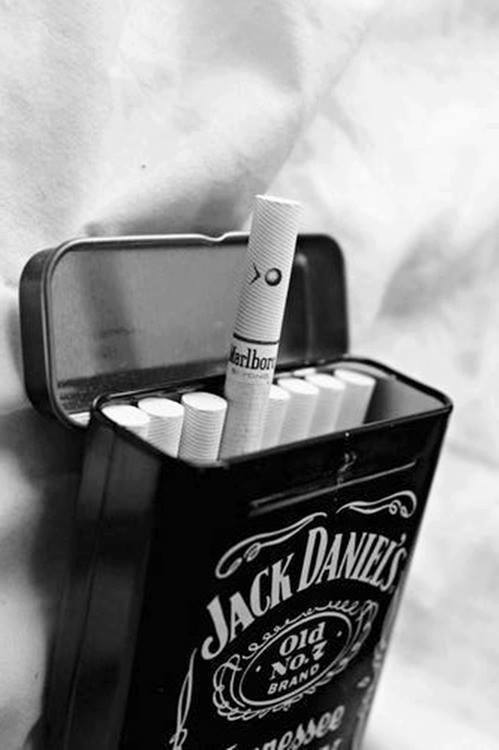 black and white, cigarettes, jack daniels, marlboro