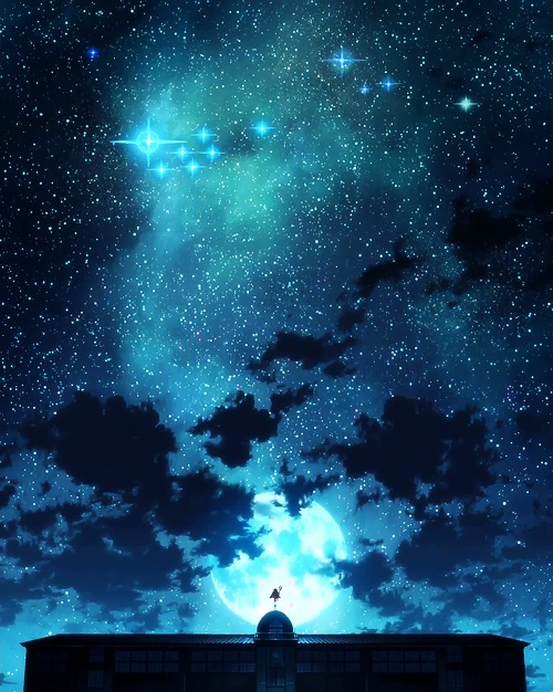 anime, anime scenery, beautiful, draw, full moon, night, scenery, stars