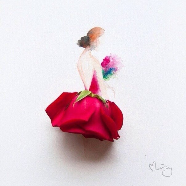 Love Lovely Model Petals Red Rose Roses Sketch Watercolours