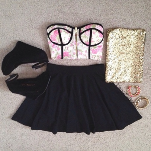 clothes, crop top, cute, outfit, party, skater skirt, summer