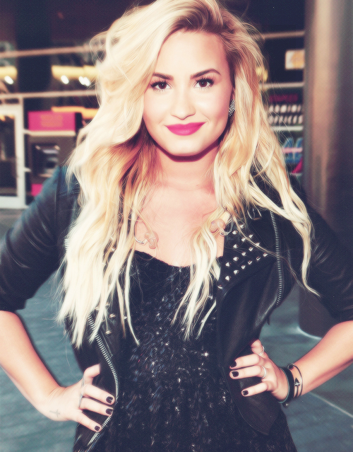 beautiful, black, blond, cool, demi lovato, hair, leather, leather jacket, long hair, nice, studded