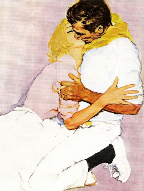 art, couple, cuddle and kiss