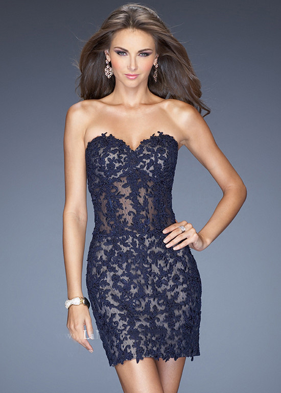 Short Form Fitted Lace Applique Nude Underlay Navy Cocktail