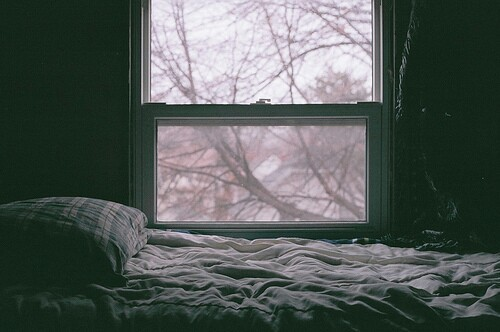 bed, bedroom, room, window, winter