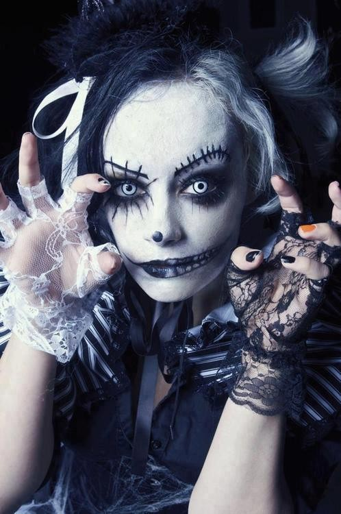gothique, halloween, makeup, woman