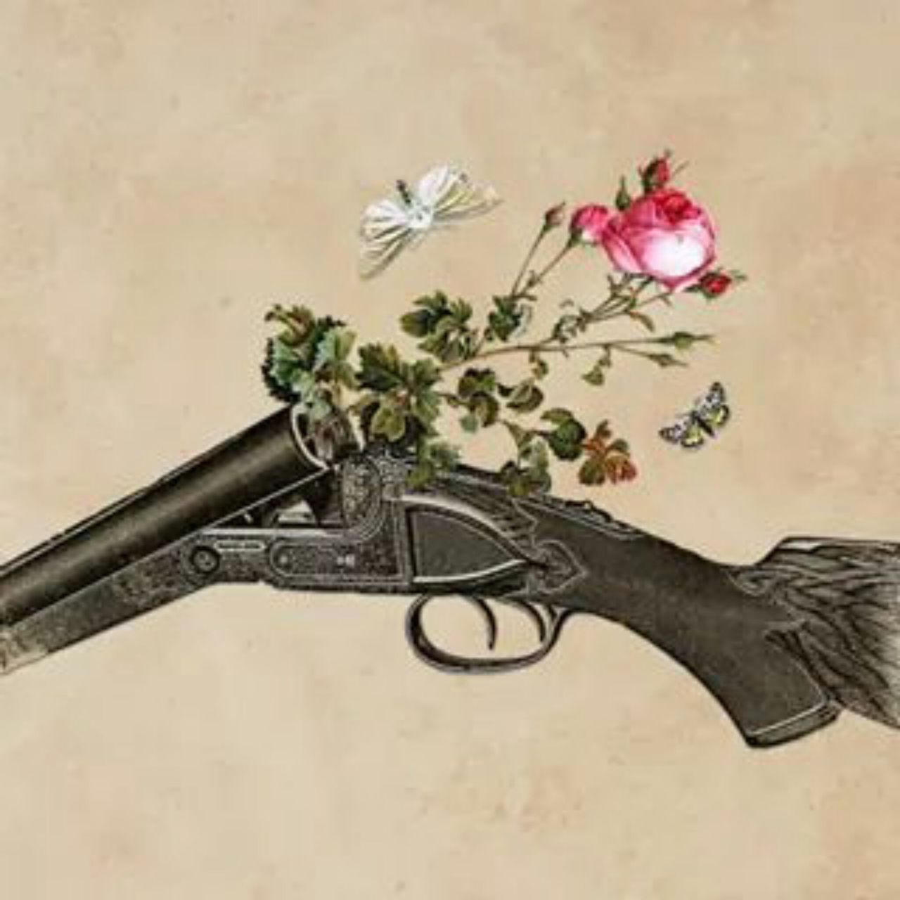 art, artistic, flowers, gun, love, peace, pistol