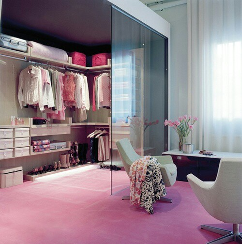 accessories, bags, blouses, boots, boxes, chairs, comfortable, flowers, girly, high heels, interior, luxury, pastel colors, pink, pink carpet, shirt, shoes, shopping, in home, dressing rooms