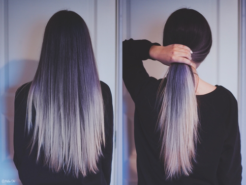 alternative, color, cute, dark, girl, grunge, hair, hairstyles, navy, ombre, pale, pink fashion, purple, First Set on Favim.com