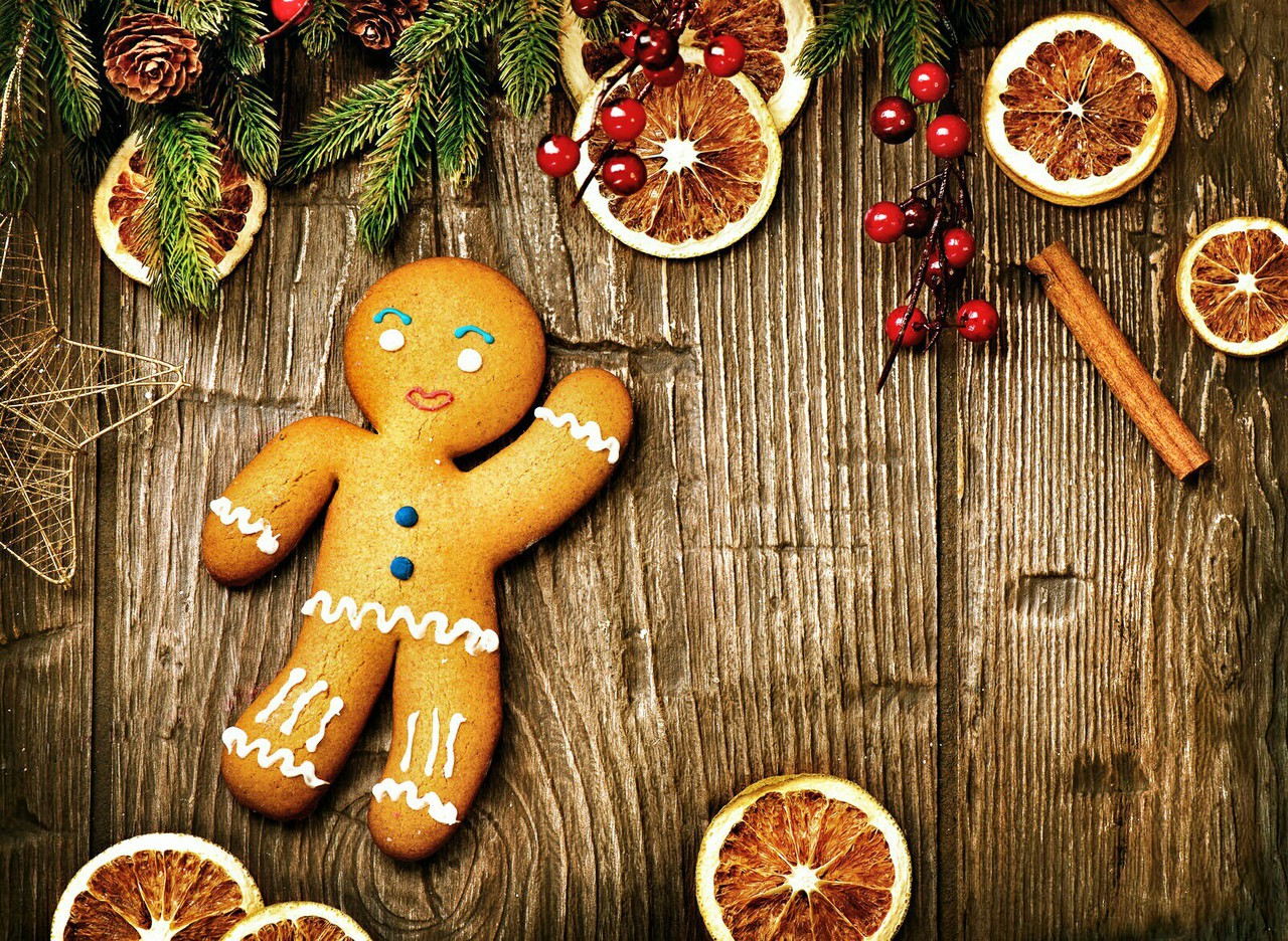 christmas, cookies, food and gingerbread