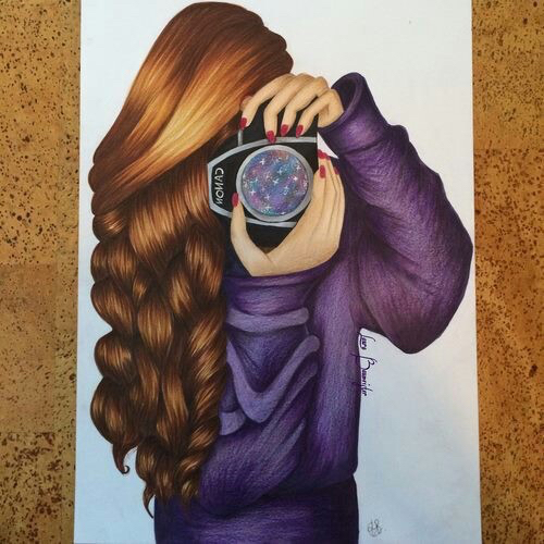 art, beauty, braids, camera, color, color pencil, curly hair, doodle, doodles, draw, drawing, draws, galaxy, girl, hair, nail polish, nails, paper, pen, pencil, photograph, photographer, picture, purple, purple shirt, red nailpolish, sketch, sketches