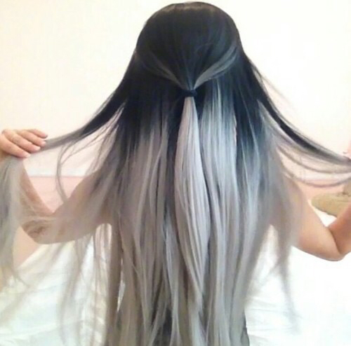 black and grey hair hairstyle long pretty white