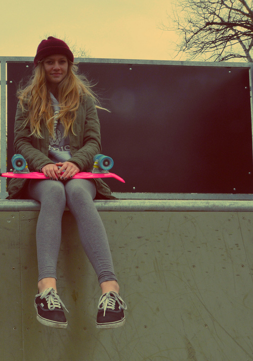 Cute girl on skateboard