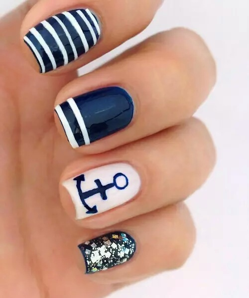 anchor, cute, nails, navy