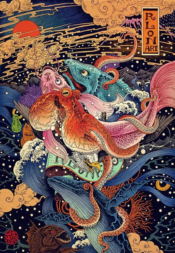 japan, japanese, nature, octopus, art, mount, culture, original, artist, animal, rlon wang, cultural, design, natural, color, mythology, asia, eagle, beautiful, fish, extravagant, different
