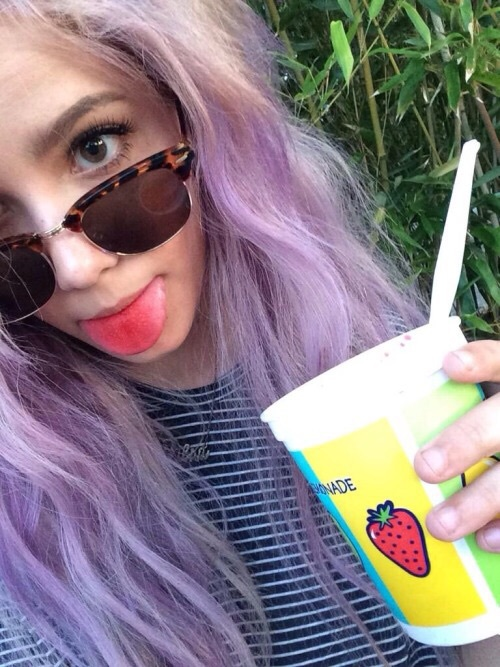 colorful hair, drink, food and food and drink