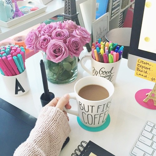 A Coffee Decoration Desk Flowers Image 3661174 By