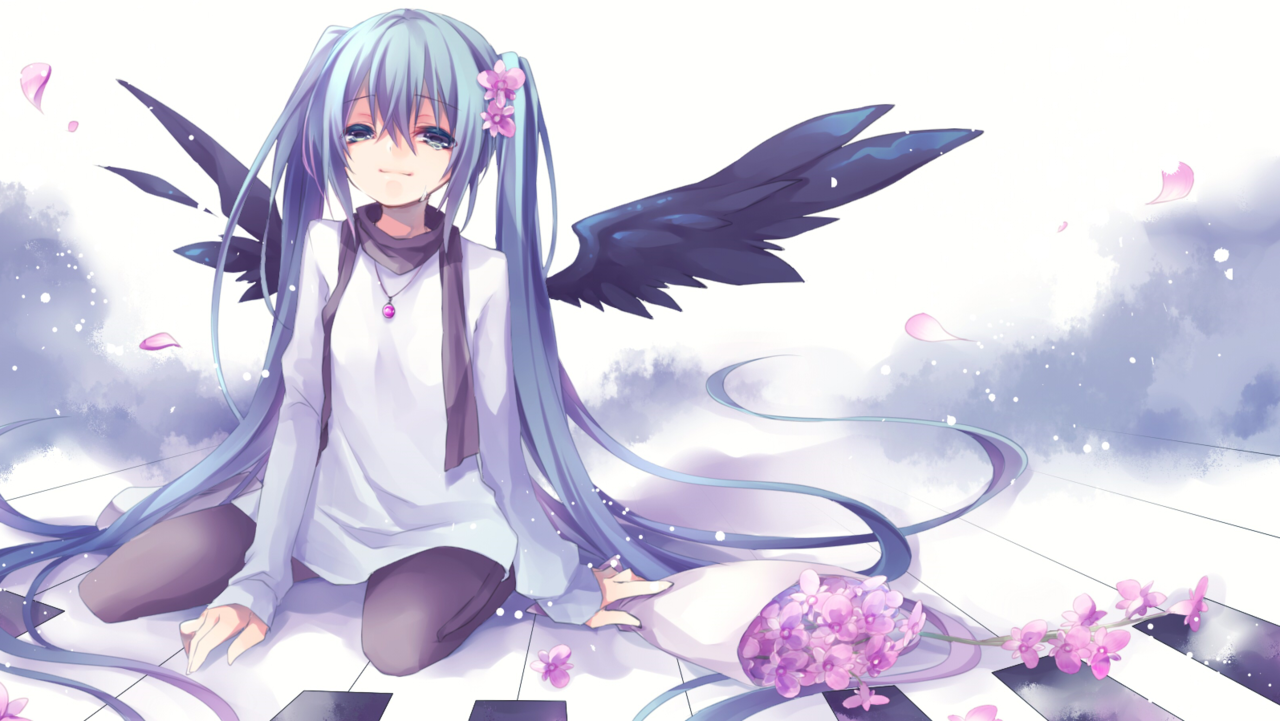 19, anime, anime girl, art, blush, cherry blossom, crying, cute, hatsune miku, lolita, lovely, pixiv, sakura, scarf, twin tails, vocaloid, wings, naturalness