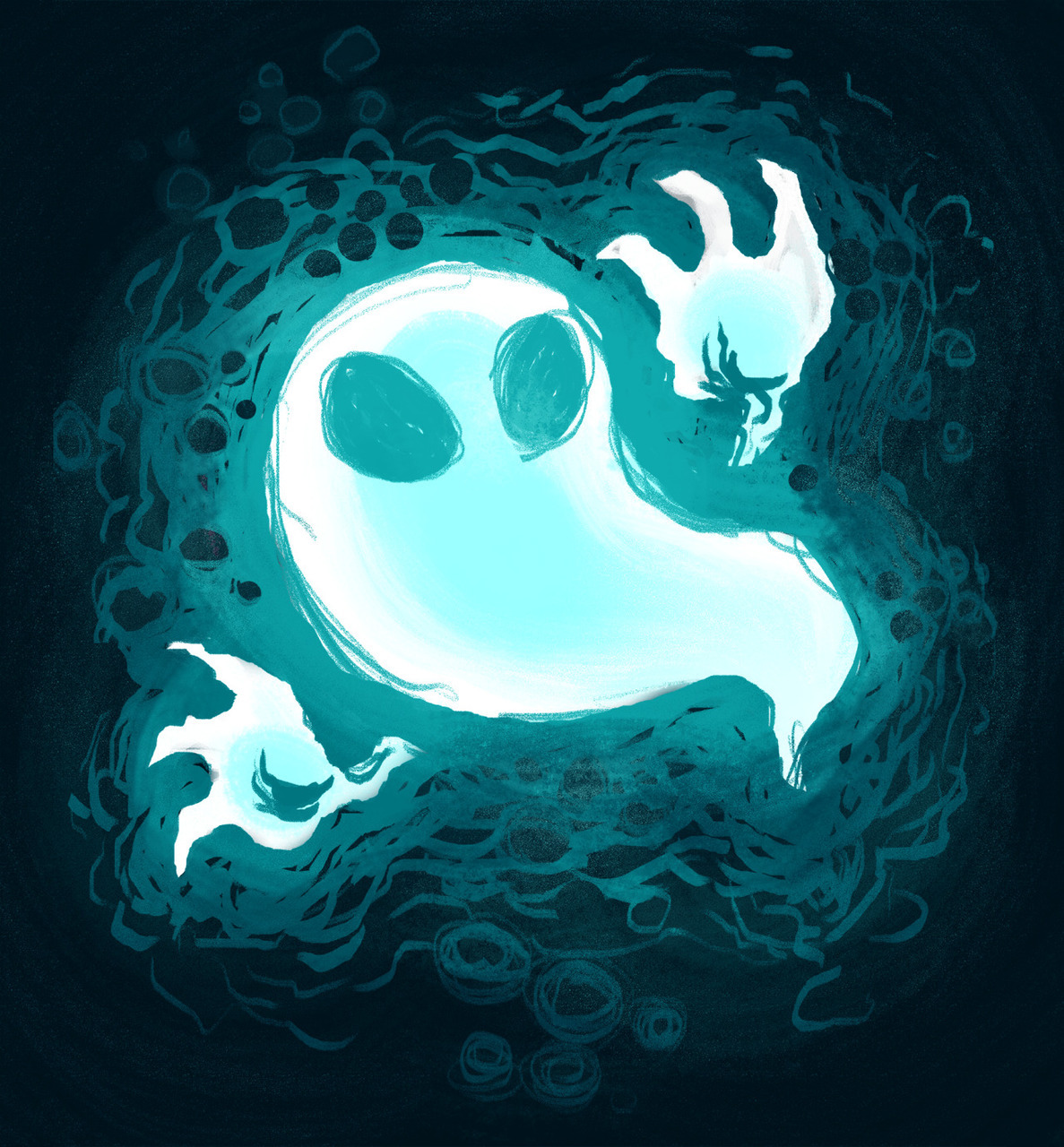 aesthetic, blue and black, cute, digital art, ghost, halloween, spooky