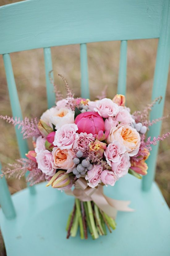blue, bouquet, chair, colorfull, colors, festive, flowers, happy, holiday, peony, pink, rainbow, tumblrpost, wedding