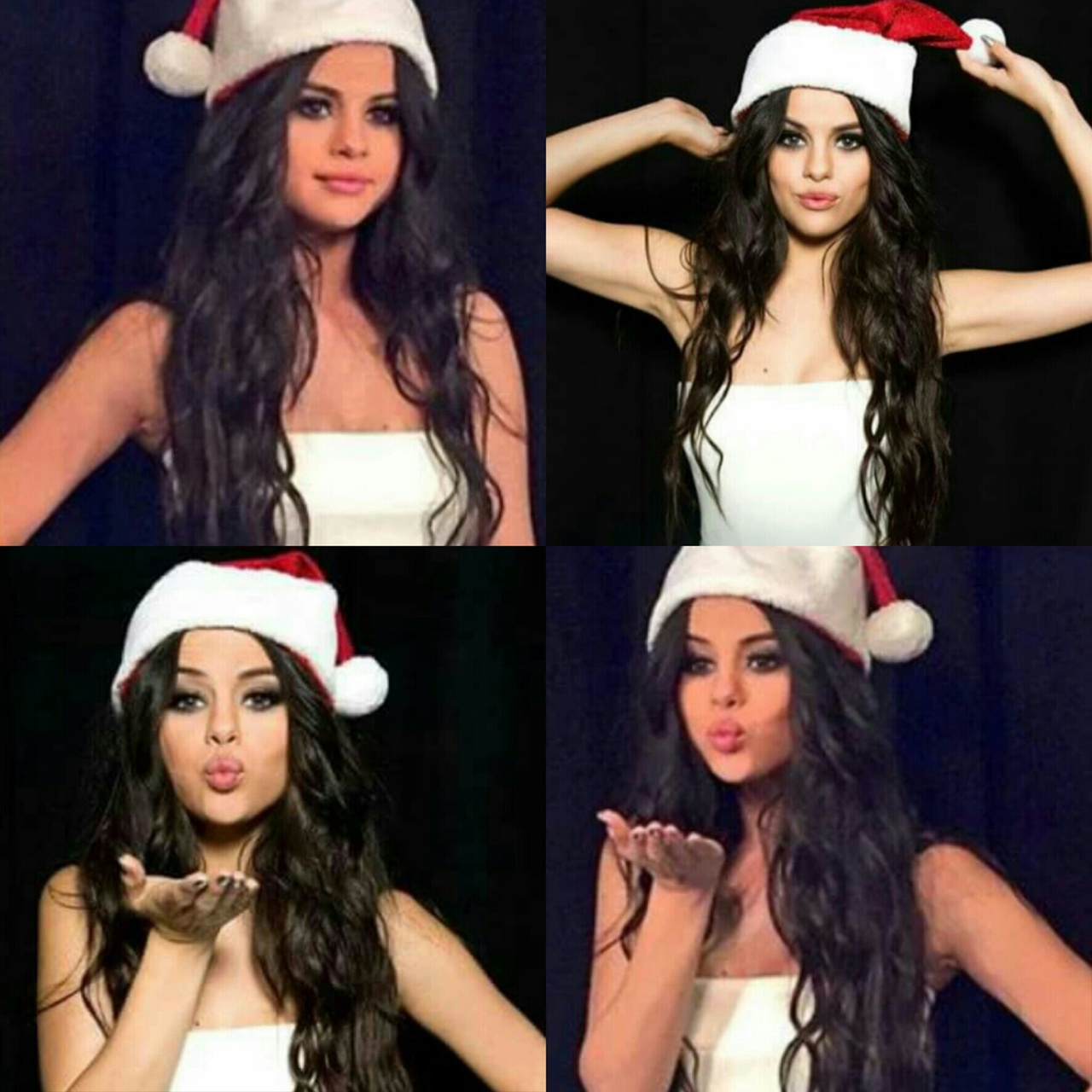 adorable, biebs, black, black hair, blo, brown, celebrity, christmas, collage, cute, cutie, december, disney, eyes, famous, filter, hat, hot, idol, justin bieber, kiss, presents, santa clause, selena gomez, stockings, white, wizards of waverly place