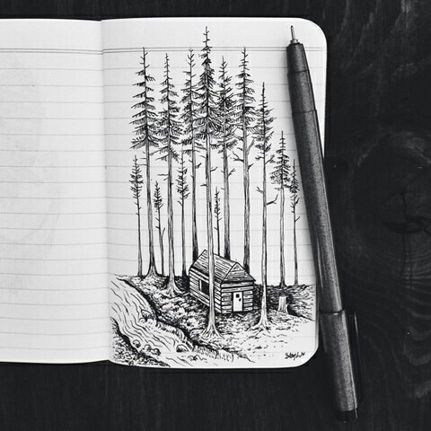 black and white, cabin, country, drawing, log cabin, mountain, nature, notebook, peace, pen, pine trees, river, rustic, solitary, trees, woods, placid, stream.