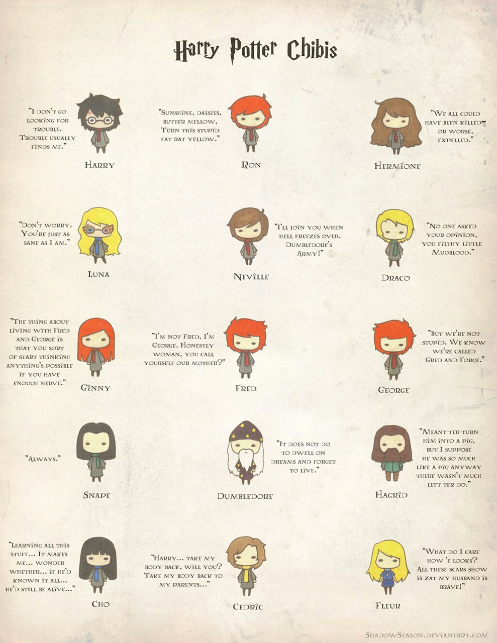 characters, chibi, cute, harry potter, hermione granger, quote, severus snape, weasley