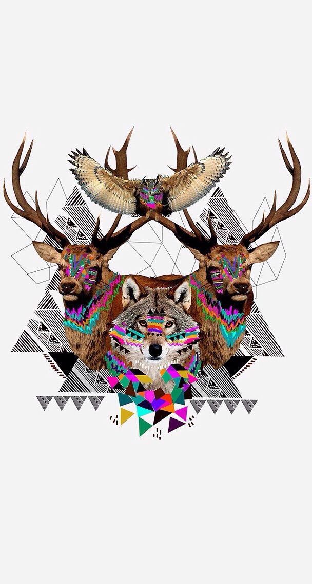 backgrounds, deer, geometric, owl, wolf
