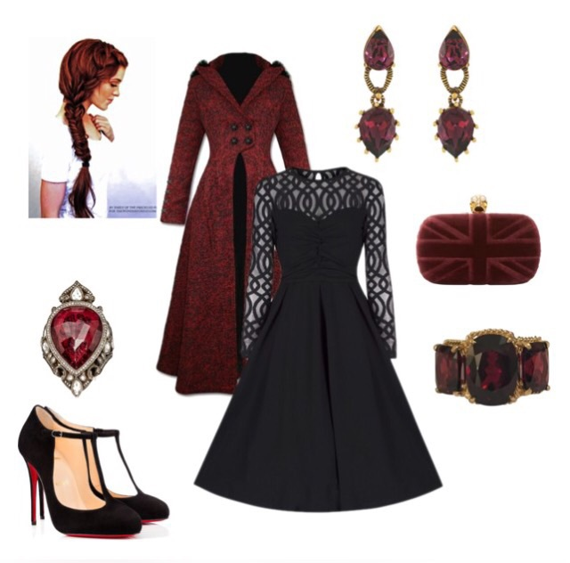 black, braid, braids, clutch, coat, designer, diamond, dress, earrings, fashion, girl, gold, goth, gothic, hair, inspiration, jewelry, louboutin, louboutins, outerwear, polyvore, ponytail, purse, red, red bottoms, red hair, redhead, shoes, style, wallet