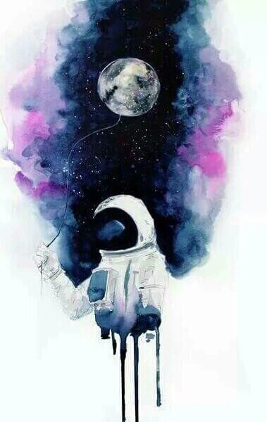 art, astronaut, black, blackandwhite, galaxy, moon, paint, space, stars, sun, white, First Set on Favim.com