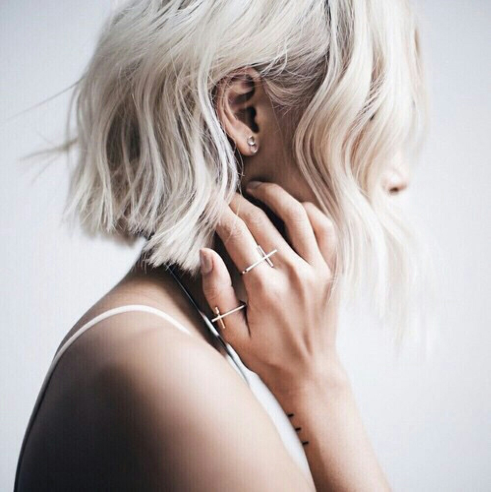 accessories, alternative, blonde, cold, colored hair, cool, cross, december, dyed hair, earring, fashion, girl, goal, grunge, hair, hairstyle, hipster, indie, pale, perfect, pretty, ring, short hair, silver, silver ring, style, stylish, white hair