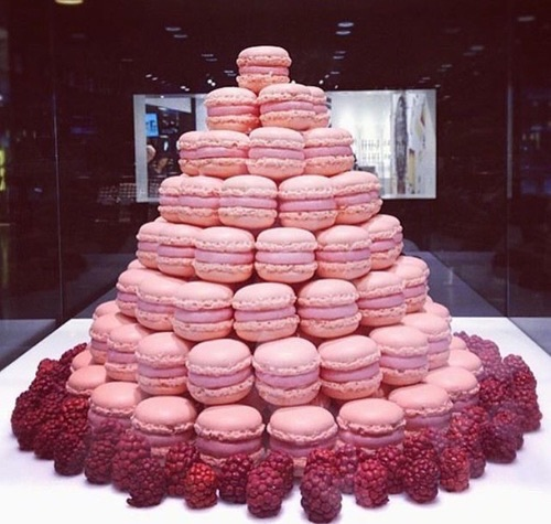 adorables, cool, cute, delicious, dessert, eat, eating, enjoy, food, french, fruit, lovely, pastel, pastel pink, pastry, patisserie, raspberries, sweet, sweetness, tasty, tower, wonderful, yum, yummy, macarons