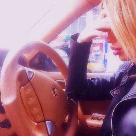 beauty, blonde, car, driving, girl, hair, porsche