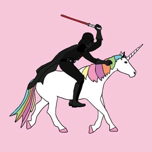 black, cool, cute, darth vader, funny, heart, horse, lightsaber, like, love, luke, movie, pink, rainbow, red, star wars, tumblr, unicorn, vader, wallpaper, we heart it, yoda