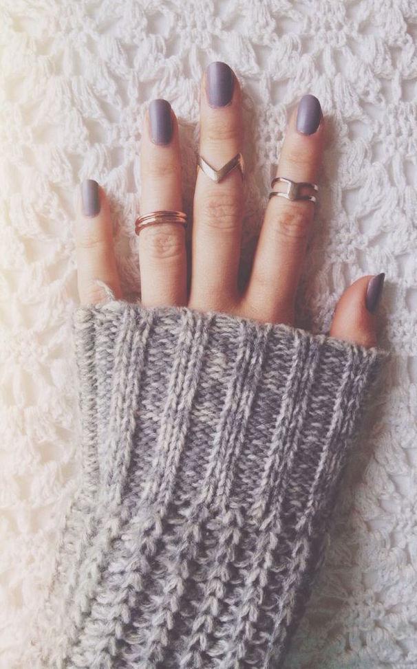 grey, indie, knit, matte, nails, rings, sweater, winter