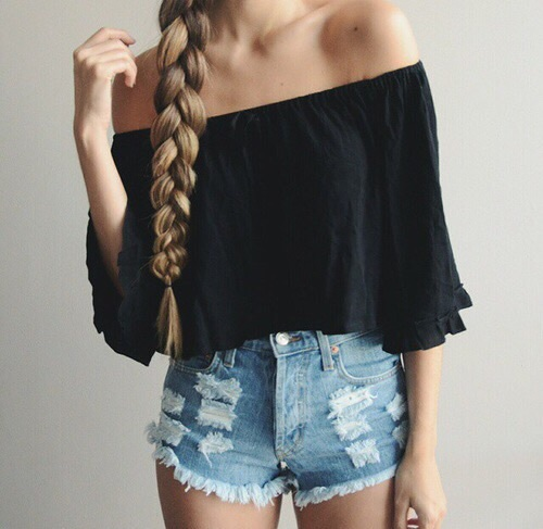 blonde, hair, trendy, outifit, shorts, fashion, hairstyle, braid, braided, stylish, shirt, long hair, denim