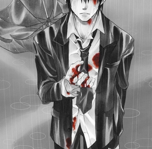 anime, blood, bloody, boy, umbrella