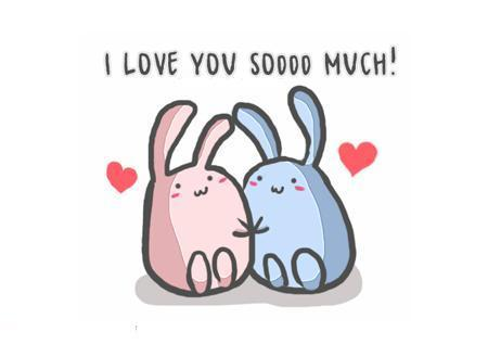 adorable, bunnies, couple, cute, hearts, i love you, kawaii, love, soooo much!, sweet