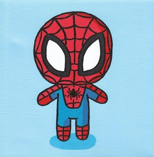 amazing, awesome, blue, cartoon, chibi, cute, kawaii, red, spider man, spidy