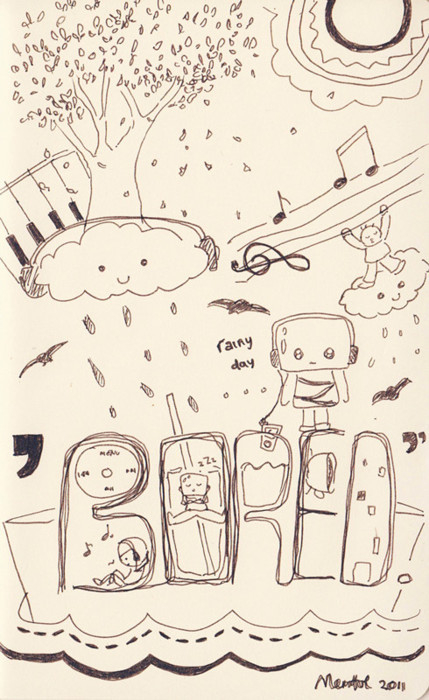 art, clouds, draw, drawing, people, random, robot