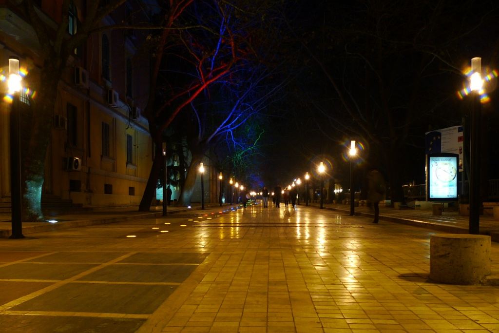 albania, tirana, night, light