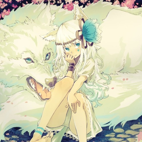 anime, girl, white wolf