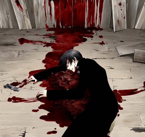 anime, man, blood, horror, gore