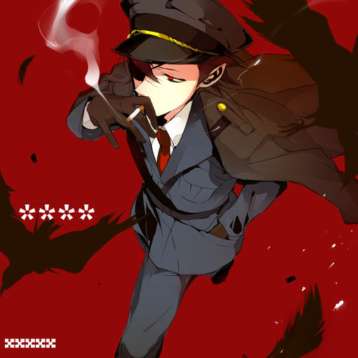 anime, man, boy, uniform, smoking