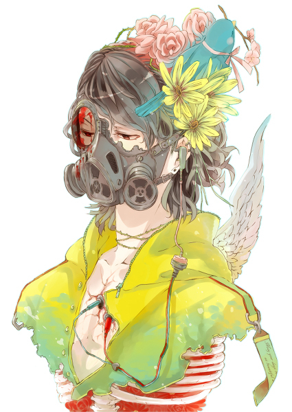 anime, mask, ribs, flowers, bird