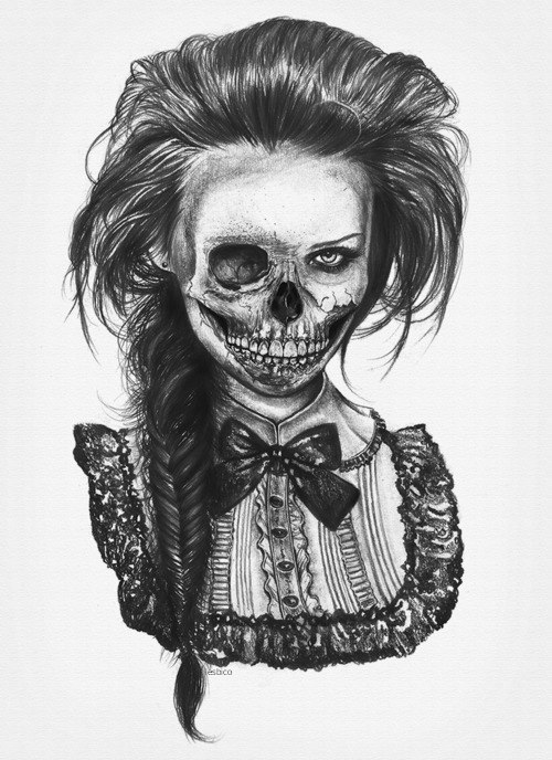 art, illustration, girl, scary, bw