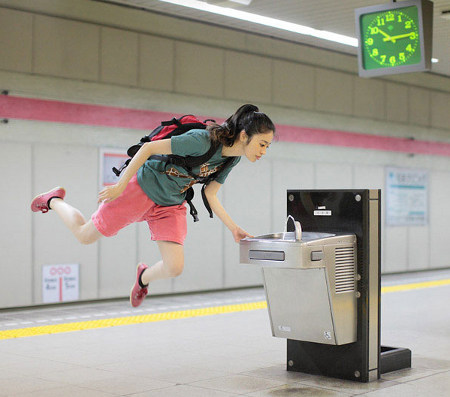 asian, girl, levitation photography