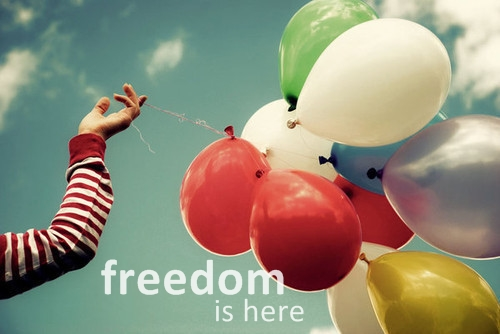 alone, baloons, colour, freedom, girl, happy, sky