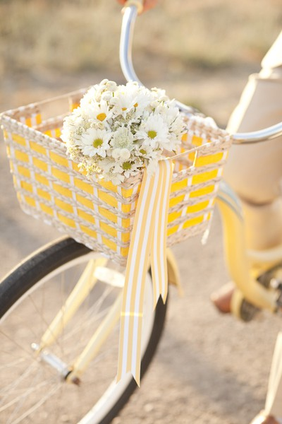 bike, flower, yellow