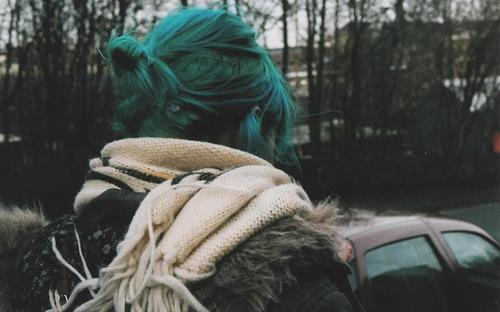 blue hair, blue, girl, hair, lonely