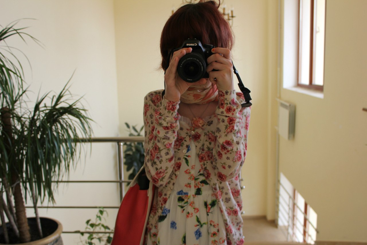 camera, canon, red hair
